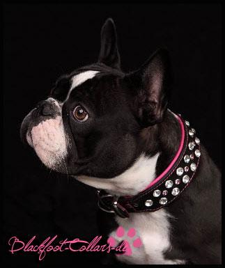 5cm breite schwarz / pink mit XXL Strass klar und pink klein
